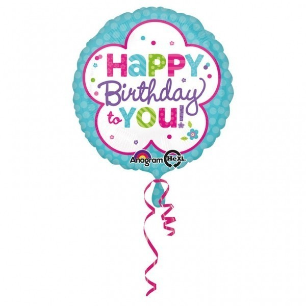 Balon folie floare 45 cm happy birthday to you