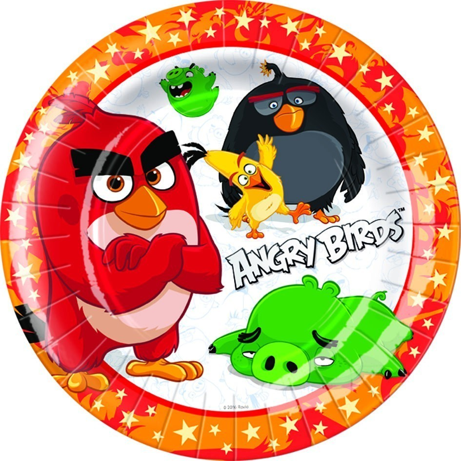 Set 8 farfurii party 23 cm angry birds