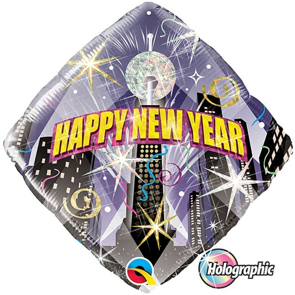 Balon folie holografic happy new year 45 cm orasul petrece
