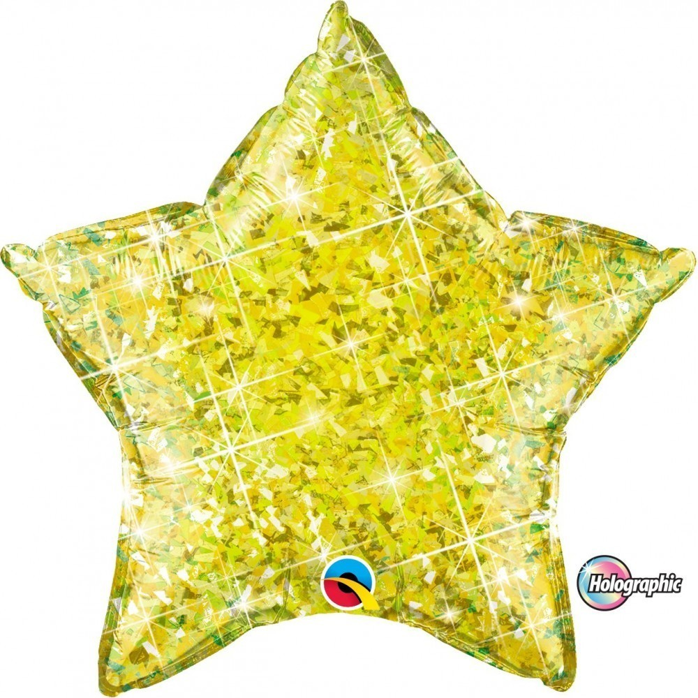 Balon folie metalizat stea yellow holografic 50 cm