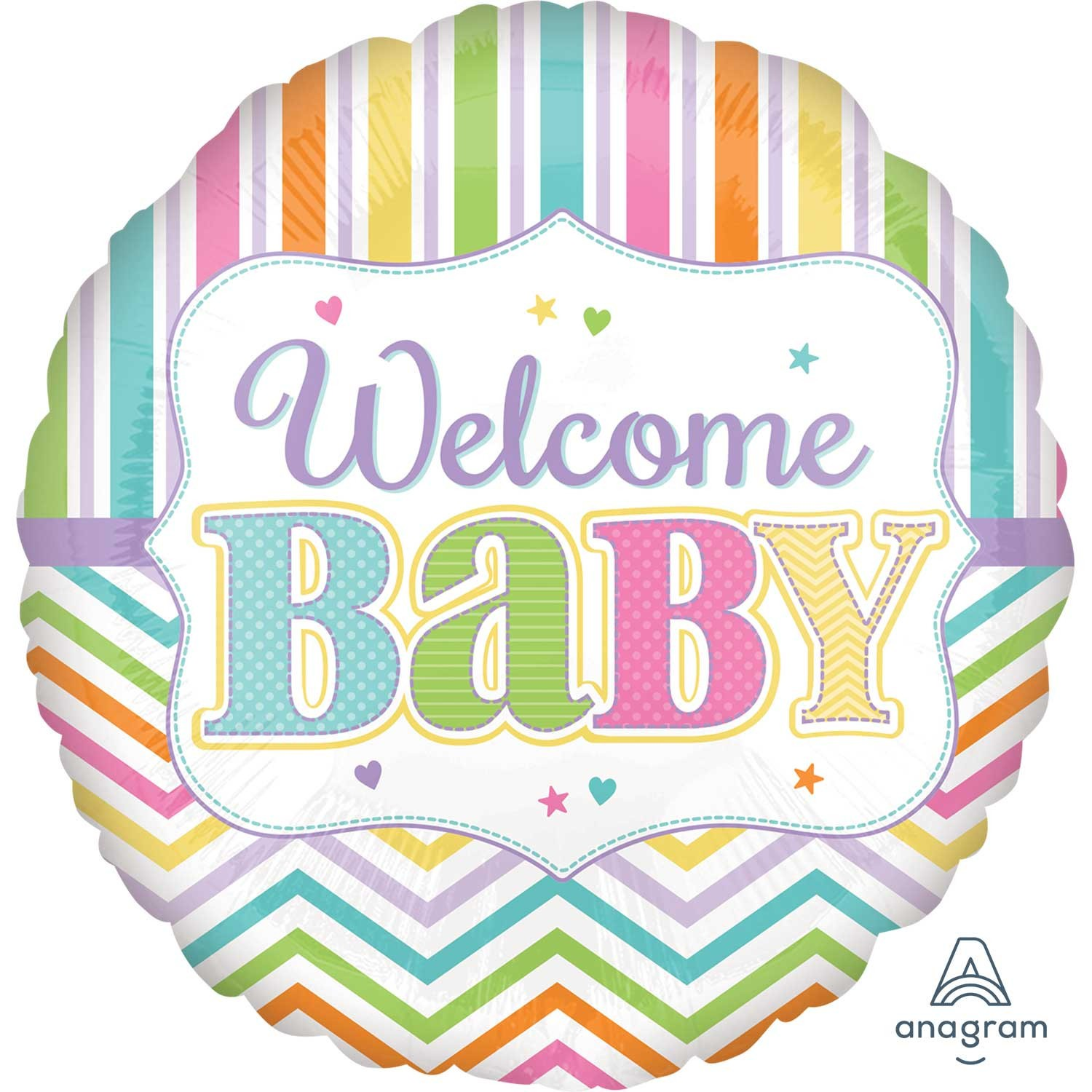 Balon folie 45 cm welcome baby colors