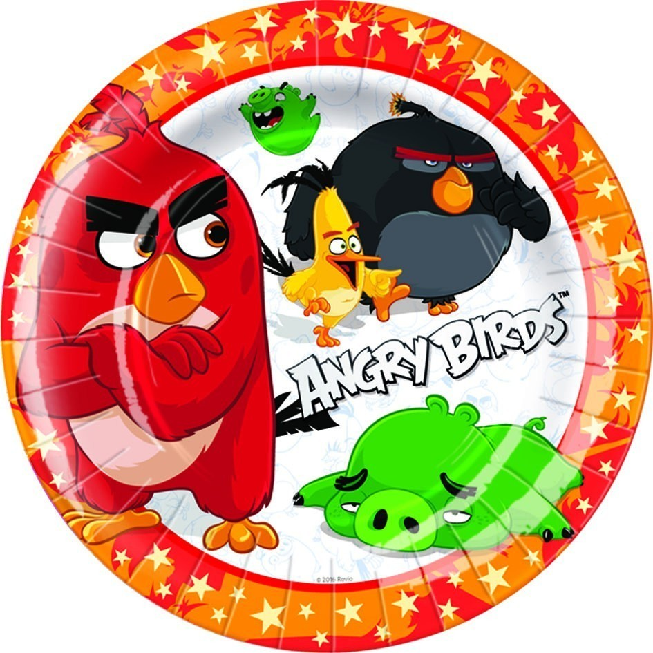 Set 8 farfurii party angry birds 18 cm