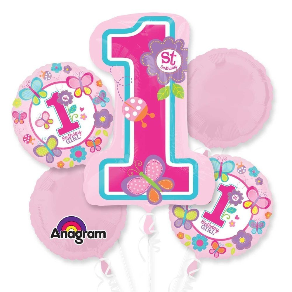 Buchet baloane 1st birthday girl set 5 bucati