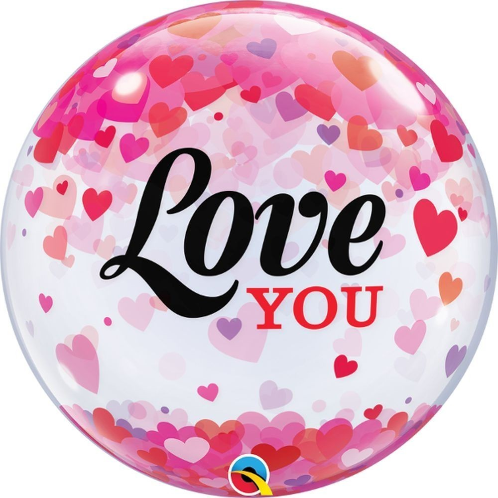 Balon bubble love you confetti hearts 56 cm