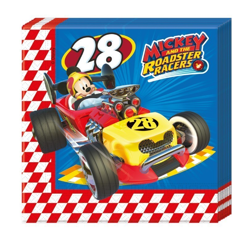 Set 20 servetele party mickey roadster racers
