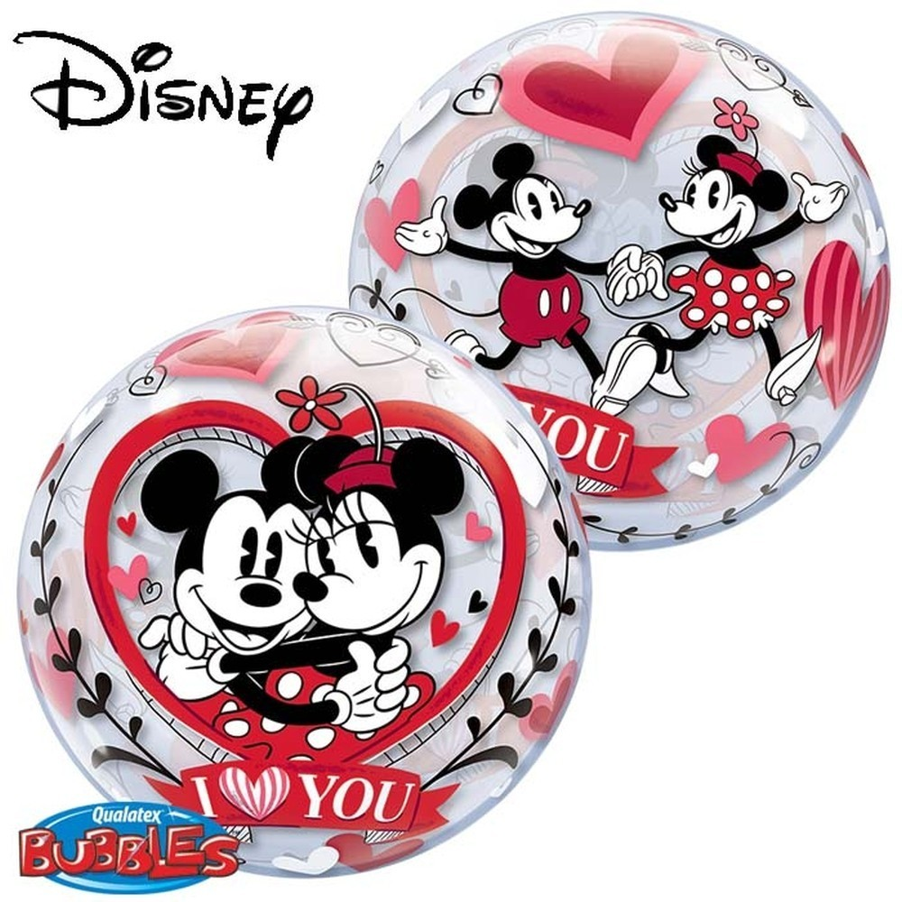 Balon bubble mickey minnie i love you 56 cm