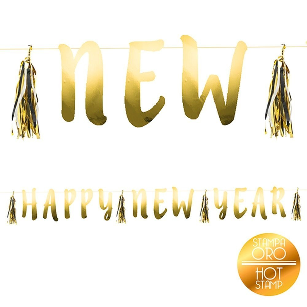Banner decorativ auriu petrecere happy new year