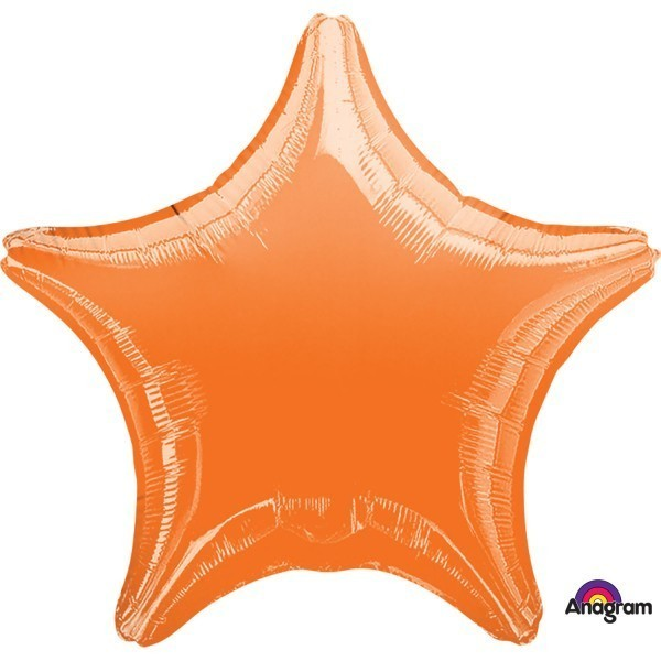 Balon folie 45 cm uni stea orange