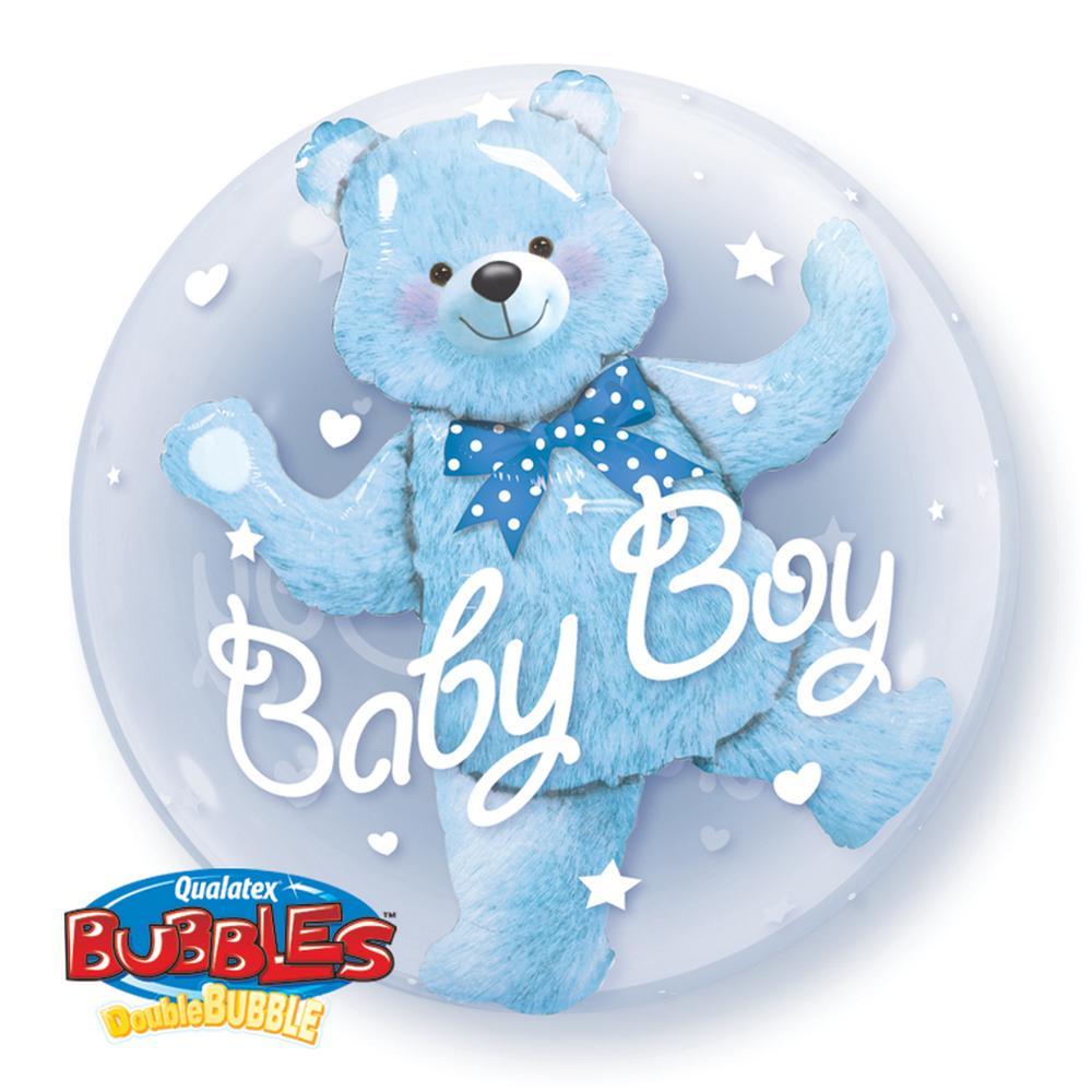 Balon double bubble baby boy blue bear 61 cm