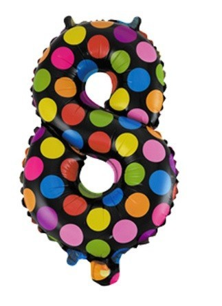 Balon folie figurina cifra 8 multicolor 35 cm