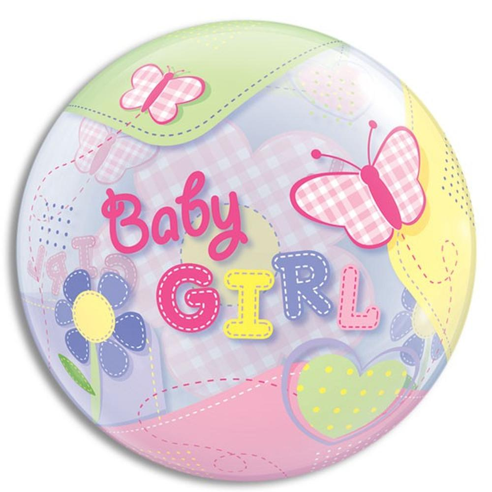 Balon bubble fluturi baby girl 56 cm