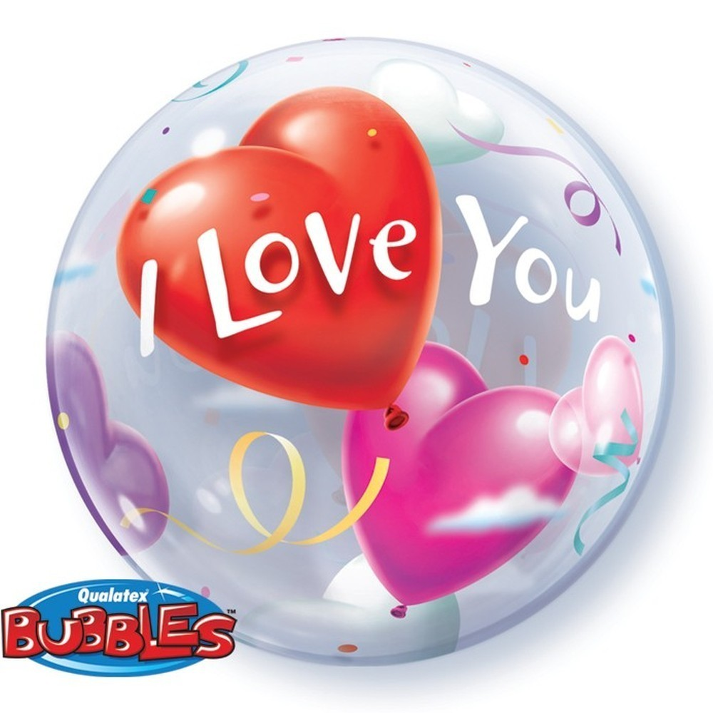 Balon bubble i love you 56 cm