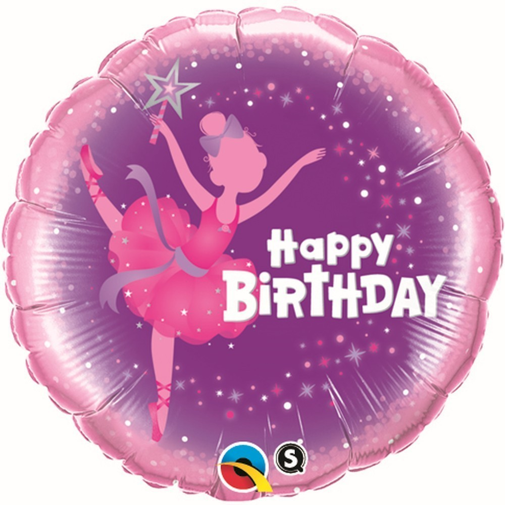 Balon-Folie-45-cm-Happy-Birthday-Balerina