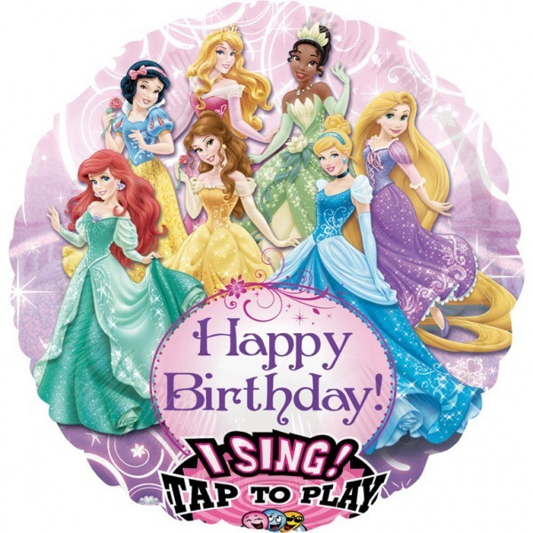 Balon folie jumbo muzical Happy Birthday Printese Disney 71cm