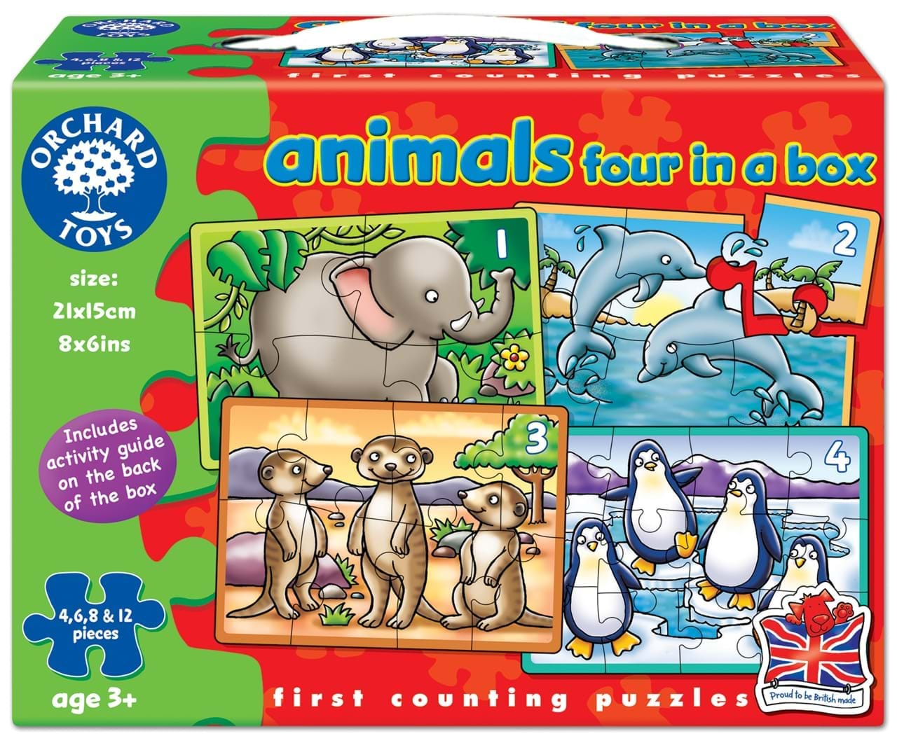 Set 4 puzzle animale 4 6 8 12 piese animals four in a box