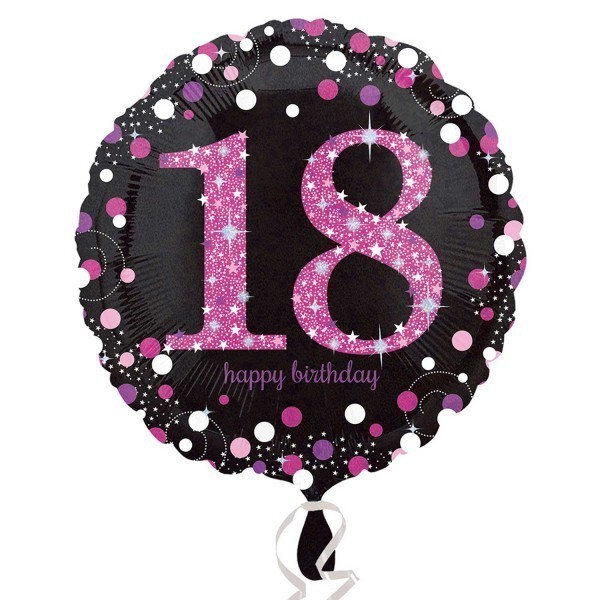 Balon folie 45 cm pink 18 ani celebration