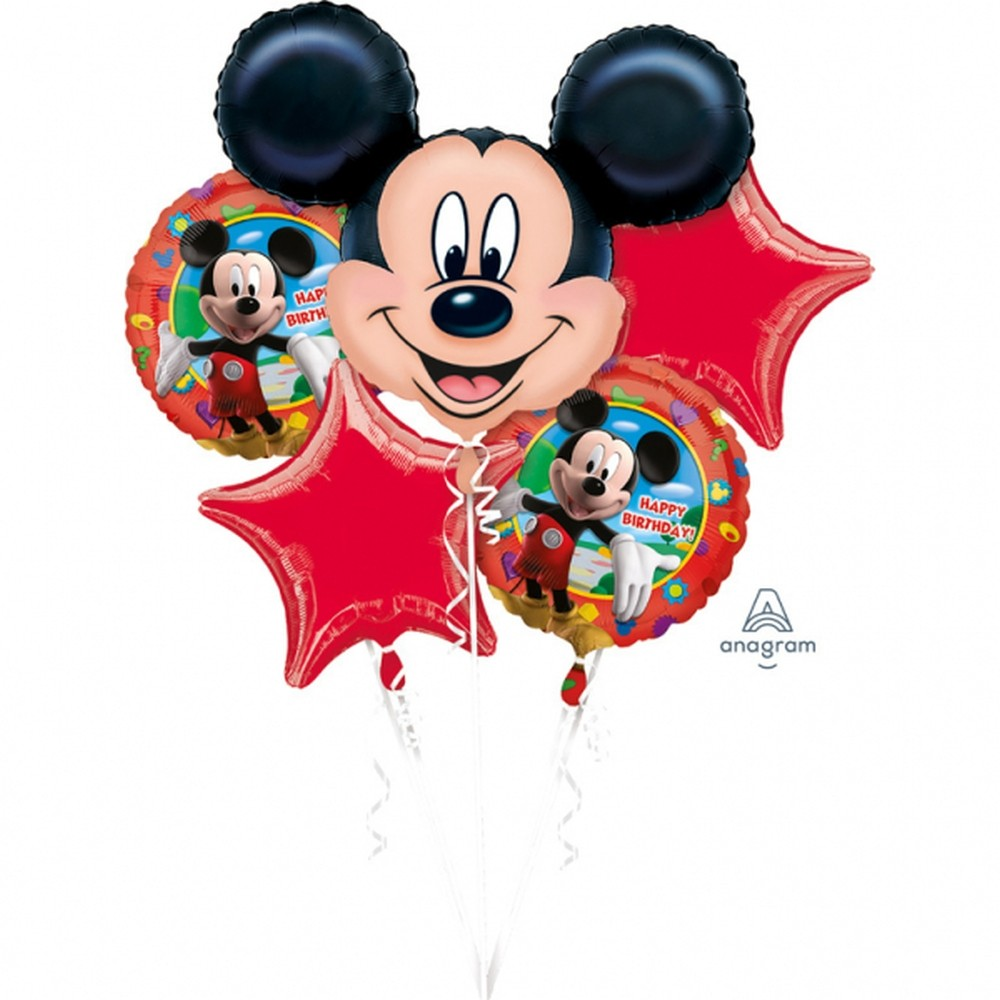 Buchet baloane mickey mouse happy birthday set 5 bucati