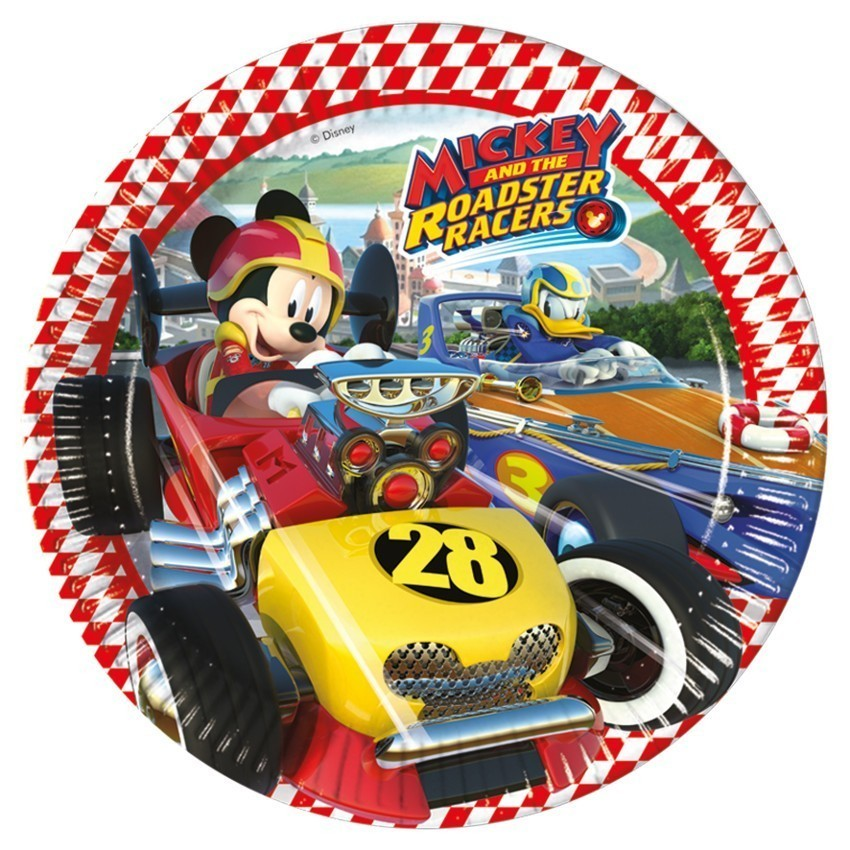Set 8 farfurii party 23 cm mickey roadster racers
