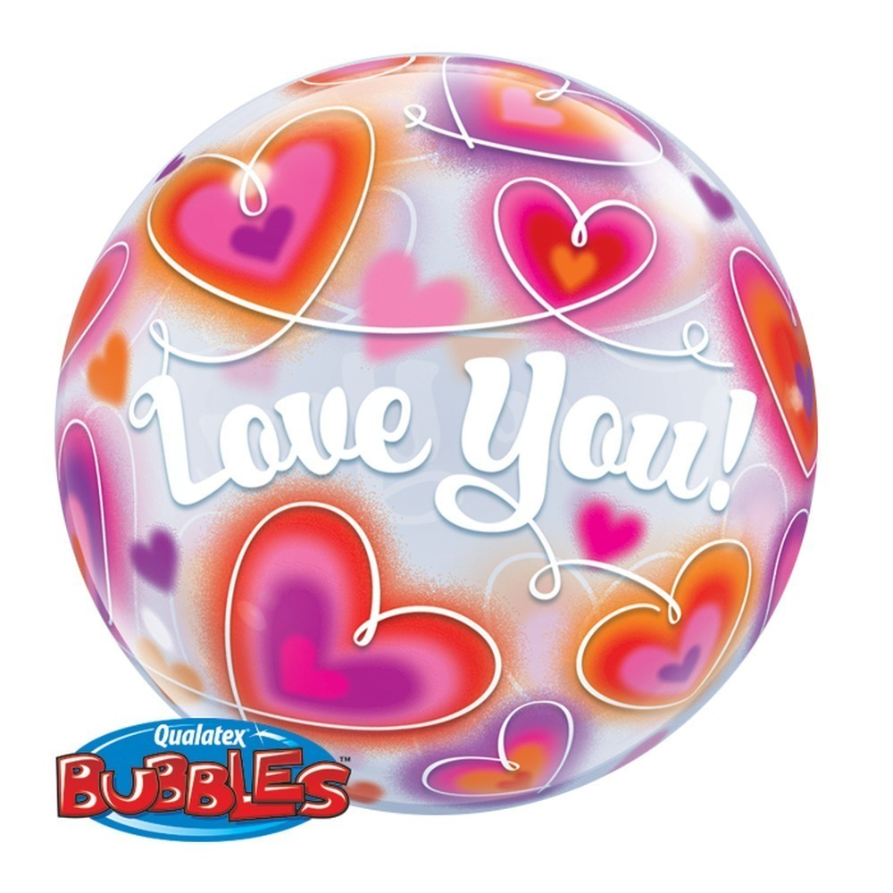 Balon bubble love you cu inimioare 56 cm