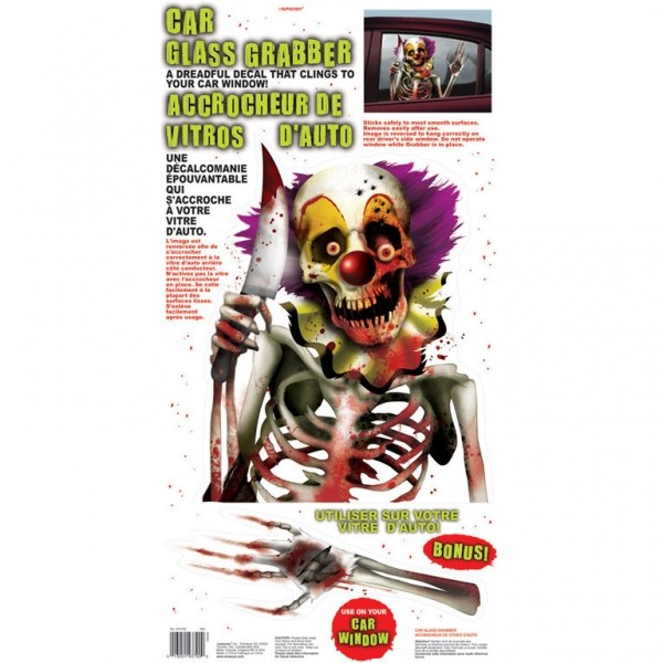Decor geam masina clown schelet halloween