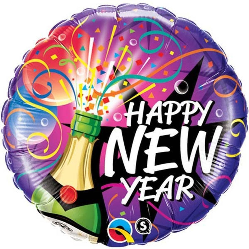 Balon folie multicolor happy new year 45 cm model cu sampanie