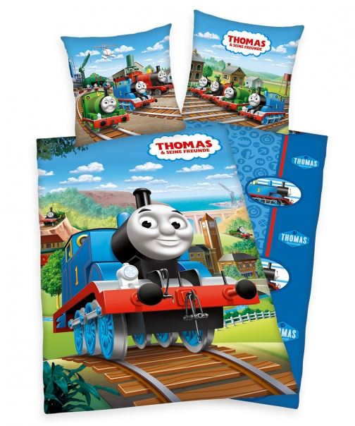 Lenjerie de pat copii Locomotiva Thomas