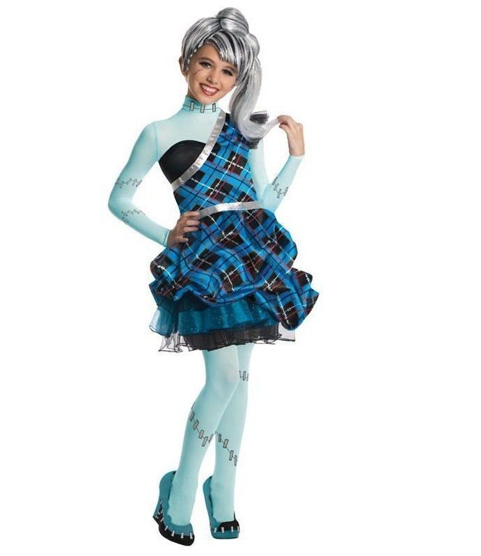 Costum Monster High copii Frankie Stein cu peruca