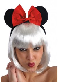 Urechi Minnie Mouse cu fundita rosie adulti