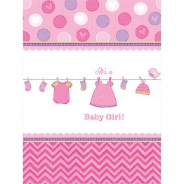 Fata de masa party plastic Shower With Love Baby Girl 137 x 243 cm