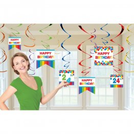 Set 12 spirale decor Happy Birthday Rainbow 61 cm