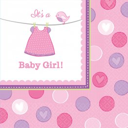 Set 16 servetele party baby shower with love Girl 33 cm