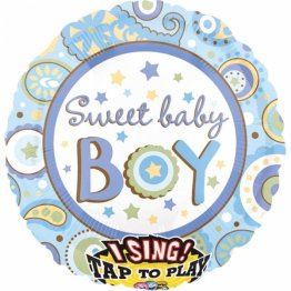 Balon folie jumbo muzical Sweet Baby Boy 71cm