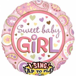 Balon folie jumbo muzical Sweet Baby Girl 71cm