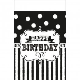 Fata de masa party plastic Happy Birthday alb negru 137 x 243 cm