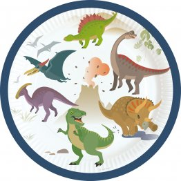 Set 8 farfurii party Happy Dinosaur 18 cm