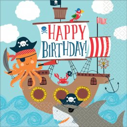 Set 16 servetele party decorative Happy Birthday Ahoy 33 cm
