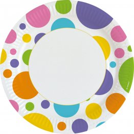 Set 8 farfurii Rainbow Dots party 23 cm
