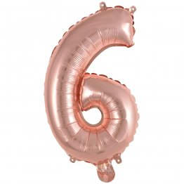 Balon folie cifra 6 Rose Gold 35 cm