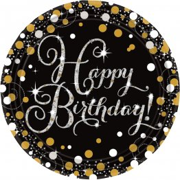 Set 8 farfurii petrecere Happy Birthday Sparkling Celebrations 23 cm