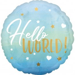Balon folie inscriptionat Hello World! Blue 45 cm