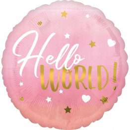Balon folie inscriptionat Hello World! Pink 45 cm