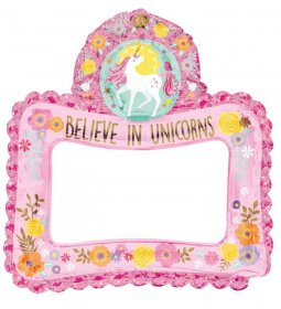 Balon folie selfie rama foto jumbo Believe in Unicorns