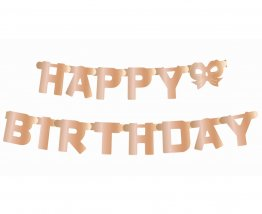 Banner decorativ litere Happy Birthday rose gold 1.6 m