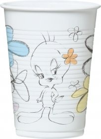 Set 8 pahare carton tweety flower 20 cl