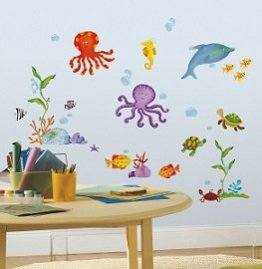 Sticker decorativ copii Animale Marine - 60 piese