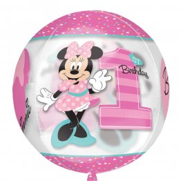 Balon orbz minnie 1st birthday transparent