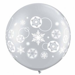 Set 2 baloane latex jumbo inscriptionate snowflakes 75 cm