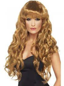 Peruca blond inchis curly