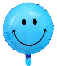 Balon folie 45 cm smiley bleu