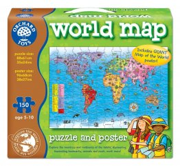 Puzzle si poster harta lumii limba engleza 150 piese world map puzzle poster